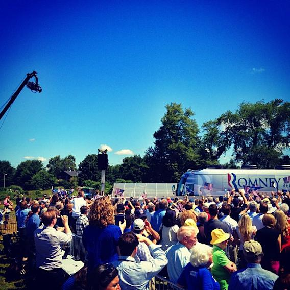 A crane camera films Romney's arrival in Stratham, NH on Friday, June 15. (Holly Bailey/Yahoo News)