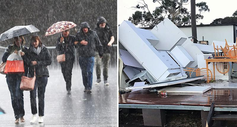 Heavy downpours affected people in Melbourne on Monday, and a severe storm caused damage in south east Victoria last week. Source: AAP