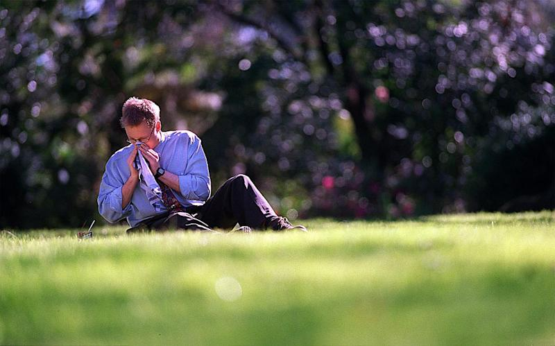 An allergy sufferer seen sneezing at a Melbourne park.