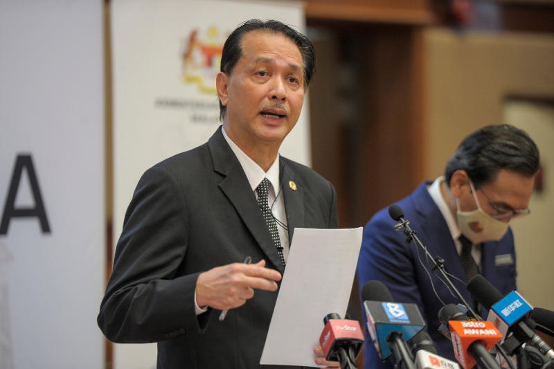 Health director-general Tan Sri Dr Noor Hisham Abdullah speaks during a press conference at the Ministry of Health in Putrajaya October 2, 2020. — Picture by Shafwan Zaidon