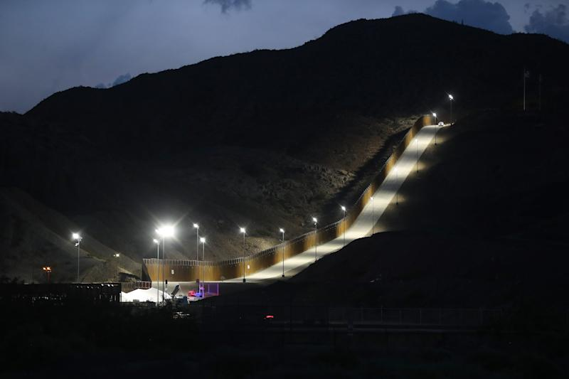 A section of border wall put in place on private property by the crowdfunded group We Build The Wall Inc. stands at dusk on June 26, 2019 in Sunland Park, New Mexico. (Mario Tama/Getty Images)