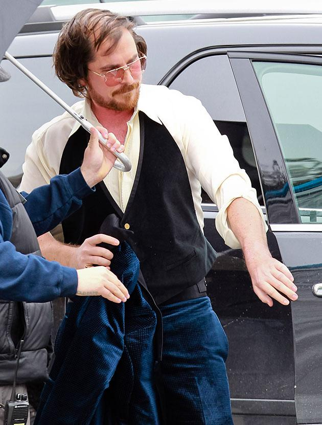 Christian Bale Sports a Wicked Comb-over on the Set of His New Film