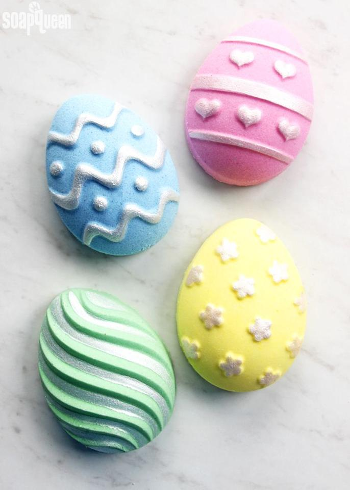 """<p>Create these delightful Easter egg bath bombs for your guests to hunt for, along with other pampering goodies.</p><p><strong>Get the tutorial at <a href=""""https://www.soapqueen.com/bath-and-body-tutorials/diy-easter-egg-bath-bombs/"""" target=""""_blank"""">Soap Queen</a>.</strong></p><p><strong><a class=""""body-btn-link"""" href=""""https://www.amazon.com/Silicone-Bakeware-Cooking-Supplies-Chocolate/dp/B07MPWVTQV/?tag=syn-yahoo-20&ascsubtag=%5Bartid%7C10050.g.16593389%5Bsrc%7Cyahoo-us"""" target=""""_blank"""">SHOP EASTER EGG MOLDS</a><br></strong></p>"""