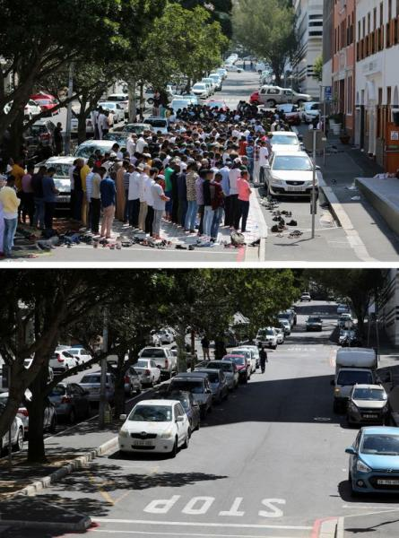 FILE PHOTO: A combination picture shows people praying outside a mosque during Friday prayers March 6, 2020 and a view of same site, now empty, as Friday prayers were suspended in mosques to prevent the spread of coronavirus disease (COVID-19) in Cape Town