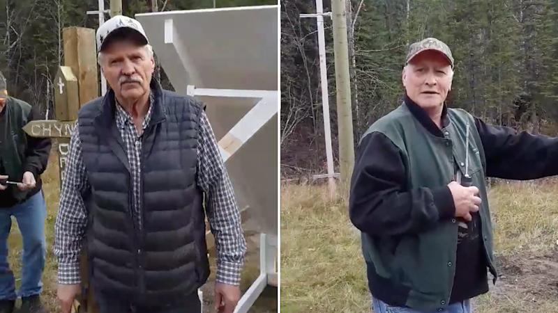 Ed Grennan (left), the truck driver who started the memorial for Australian Lucas Fowler and American Chynna Deese along Canada's Alaska Highway. Now John Van Vyfeyken (right) who is helping him to make it more permanent.