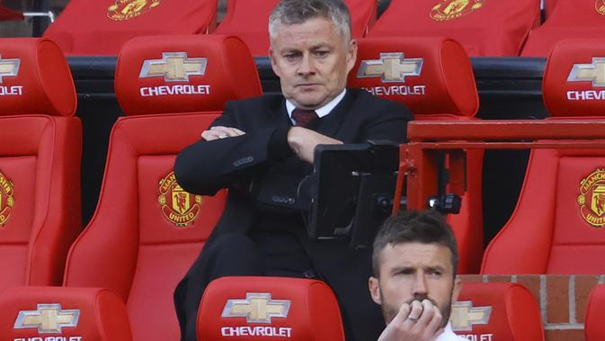 Manajer Manchester United Ole Gunnar Solskjaer. (Richard Heathcote / Pool via AP)