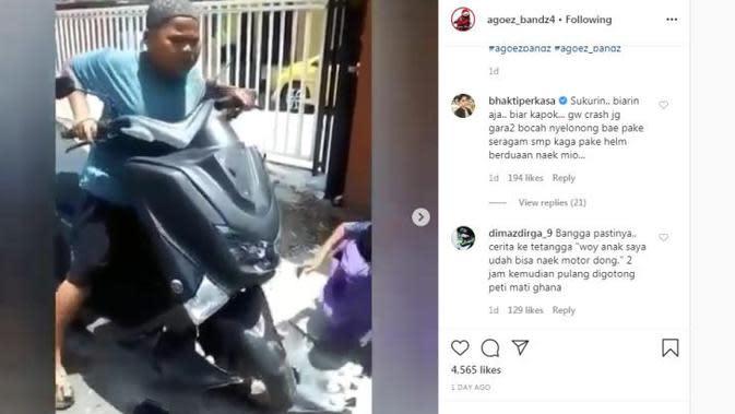 Lagi, Bocah Nangis Ketakutan karena Bikin Motor Rusak