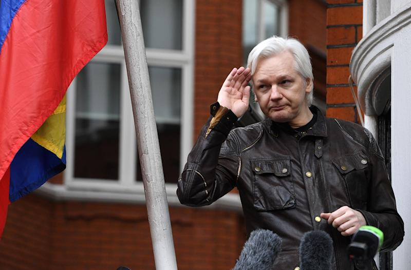 Assange speaks to reporters on the balcony of the Ecuadorian Embassy in May 2017. Source: AAP