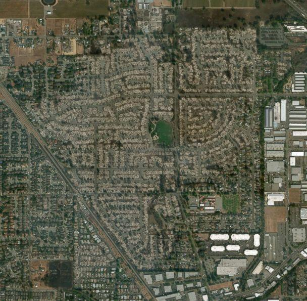 PHOTO: A satellite image made on Oct. 11, 2017 shows damage to structures in the Coffey Park neighborhood of Santa Rosa, Calif. after nearly two dozen fires tore through the Golden State.. (DigitalGlobe)