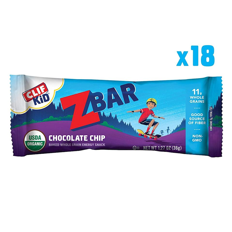 """<p>These <a href=""""https://www.popsugar.com/buy/Clif-Kid-ZBar-Organic-Granola-Bars-479985?p_name=Clif%20Kid%20ZBar%20Organic%20Granola%20Bars&retailer=amazon.com&pid=479985&price=10&evar1=moms%3Aus&evar9=46499451&evar98=https%3A%2F%2Fwww.popsugar.com%2Ffamily%2Fphoto-gallery%2F46499451%2Fimage%2F46499457%2FClif-Kid-ZBar-Organic-Granola-Bars&list1=shopping%2Chealthy%20snacks%2Csnacks&prop13=api&pdata=1"""" rel=""""nofollow"""" data-shoppable-link=""""1"""" target=""""_blank"""" class=""""ga-track"""" data-ga-category=""""Related"""" data-ga-label=""""https://www.amazon.com/Clif-Kid-ZBAR-Organic-Chocolate/dp/B0012JNRKS/ref=sr_1_89?crid=2RAHHOSQSKWG3&amp;keywords=snacks%2Bfor%2Bkids&amp;qid=1565797834&amp;s=gateway&amp;sprefix=snacks%2Bfor%2Caps%2C120&amp;sr=8-89&amp;th=1"""" data-ga-action=""""In-Line Links"""">Clif Kid ZBar Organic Granola Bars</a> ($10 for 18) are so good, we've been known to grab a couple of these ourselves.</p>"""