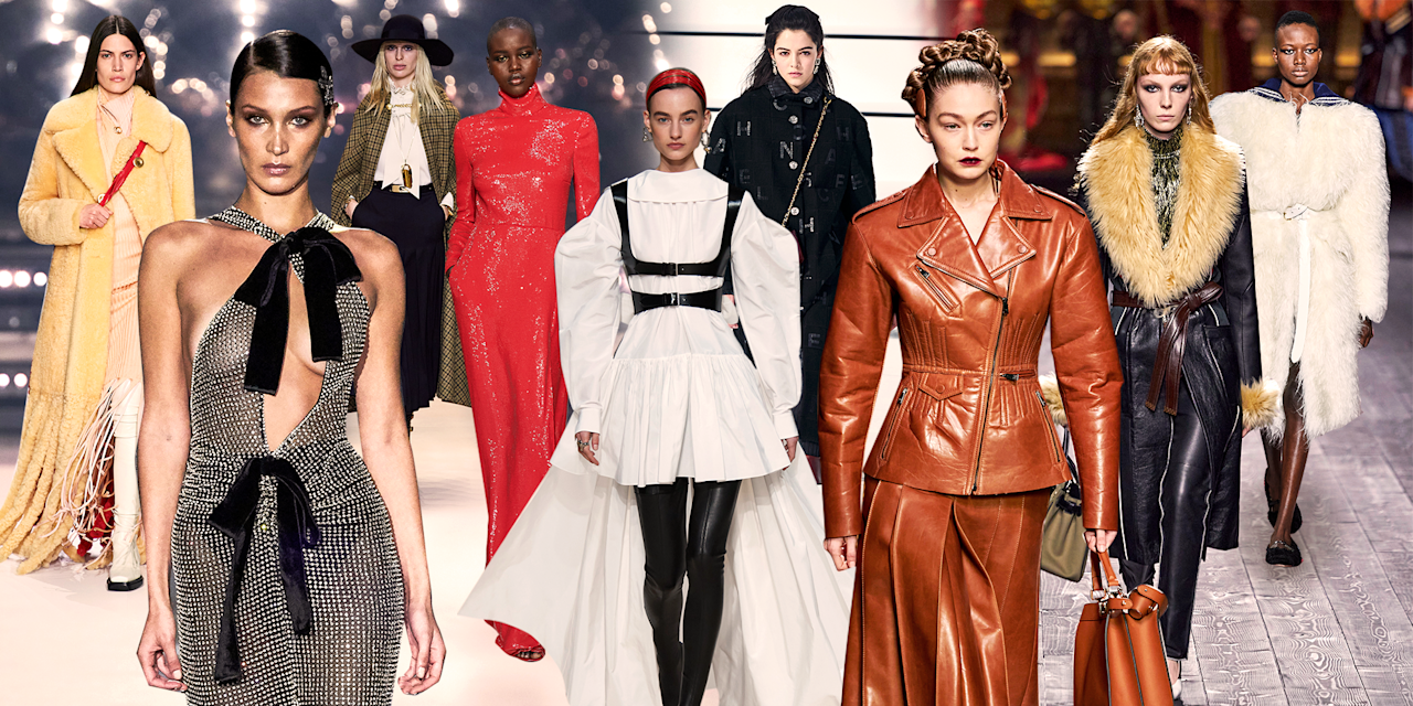 <p>Much of the fall 2020 season was marked by an apocalyptic vibe that found its way onto the runways. From Balenciaga's flooded floors to Thom Browne's Noah's ark pairs, not to mention the cancellation of some shows in Milan, the outlook was dour. Even though designers had no way of knowing what was coming, it felt like the trends shared that mood—to wit, very dramatic all black was a recurring theme. But that really was the admittedly chic exception to an overall optimistic season. Actual brides (what could be more joyful?) and full-on kira kira glitter walked alongside fringe pieces, fabulous red dresses, and giant statement-making coats. Perhaps in a nod to sustainability, there was also a leaning into the classics, from Upper East Side '80s ladies to prep-school tropes and Scottish plaids. Lingerie looks, all shades of nude, and some seriously interesting sleeve work were also at play. See what else the fall 2020 runways had in store and shop the looks now.<br></p>