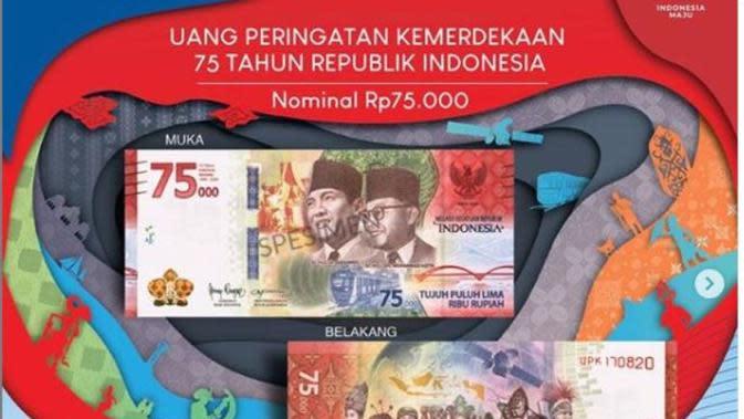 BI hari ini meluncurkan uang baru edisi 75 Tahun Indonesia Merdeka. (dok.Instagram @bank_indonesia/https://www.instagram.com/p/CD-zQznBl6d/Henry)