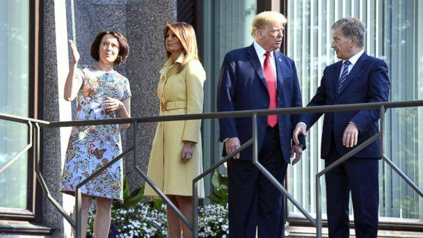 PHOTO: President Donald Trump talks with the President of Finland Sauli Niinisto (right), as first lady Melania Trump talks with his spouse Jenni Haukio, left, at the president's official residence in Mantyniemi, in Helsinki, Finland, July 16, 2018. (Martti Kainulainen/REX/Shutterstock)
