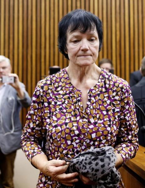 FILE PHOTO: Britta Nielsen, a Danish woman accused of embezzling 117 million crowns ($17 million) of Danish government funds, leaves after a court appearance at Randburg Magistrates Court, South Africa