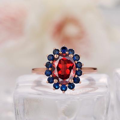 Wedding Anniversary Gift 14k Gold Ring Marquise Garnet Gold Ring Natural Garnet Gemstone Ring Boho Ring Engagement Band Gift for Her