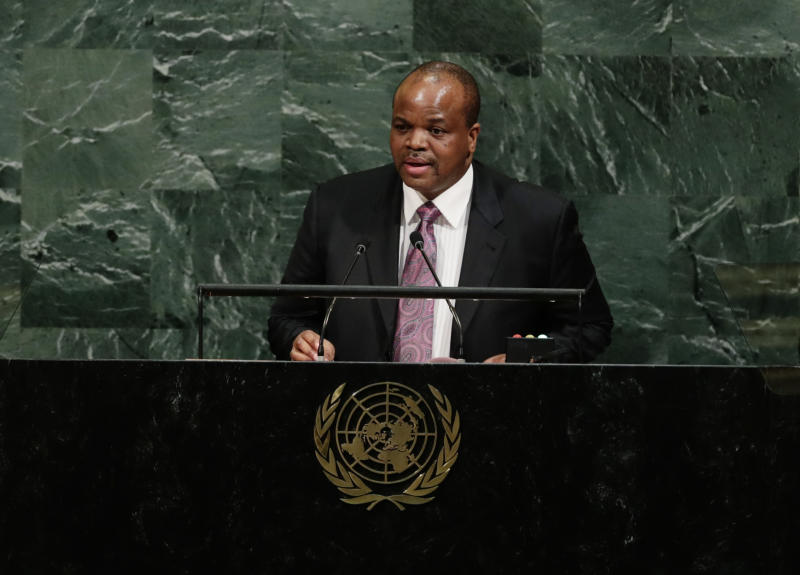 Swaziland's King Mswati III addresses the United Nations General Assembly Wednesday, Sept. 20, 2017, at the United Nations headquarters. (AP Photo/Frank Franklin II)