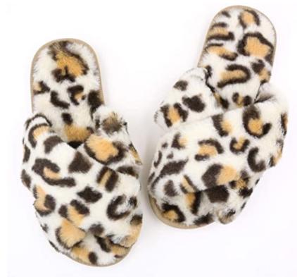Topgalaxy.Z Fuzzy Slippers in white leopard