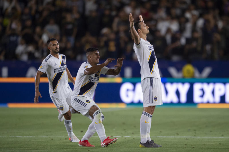 Jul 19, 2019; Carson, CA, USA; LA Galaxy forward Zlatan Ibrahimovic (9) celebrates his goal during the second half against the Los Angeles FC at Dignity Health Sports Park. Mandatory Credit: Kelvin Kuo-USA TODAY Sports