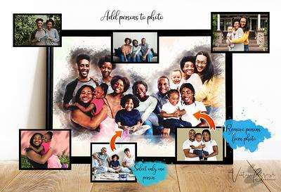 Family Portrait From Multiple Photos Watercolor Painting Combine Photos Montage Merge Of Different Photos Add Person Photo
