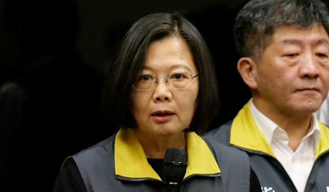 Taiwan President Tsai Ing-wen speaks about the coronavirus situation in Taiwan, during a news conference. Photo: Reuters