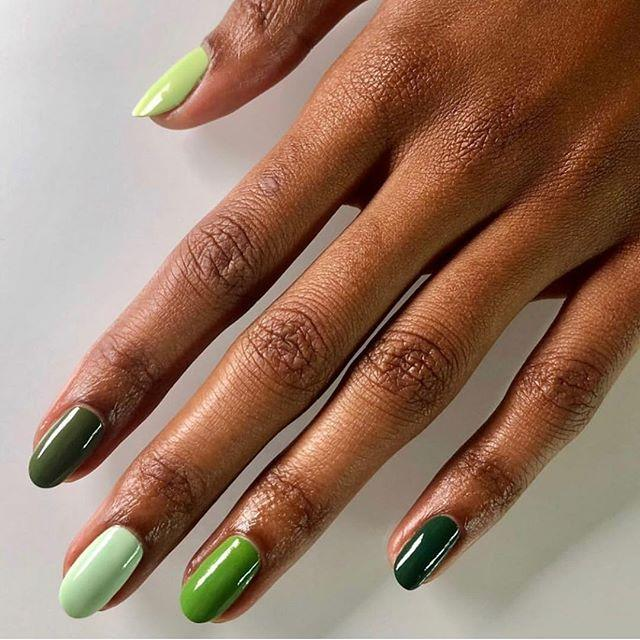 "<p>Why choose one shade of green when you can have them all? These multihued <a href=""https://www.cosmopolitan.com/style-beauty/beauty/g30933070/square-nails-design-ideas/"" target=""_blank"">nails</a> are simple but still really, really cute.</p><p><strong>Recreate it with:</strong> <a href=""https://www.amazon.com/ella-mila-Polish-Dream-Collection/dp/B01NAGQ99H/ref=sr_1_1_sspa?"" target=""_blank"">Ella + Mila Nail Polish in Mistletoe Magic</a></p><p><a href=""https://www.instagram.com/p/B600W_rlntj/"">See the original post on Instagram</a></p>"