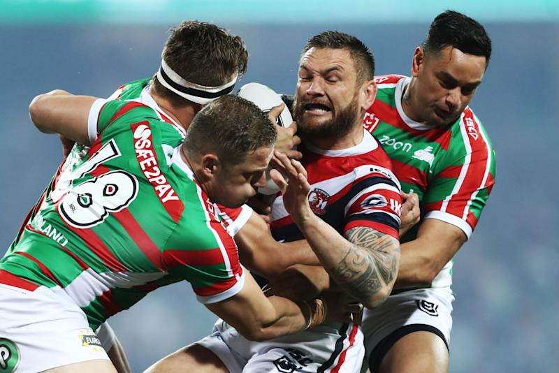 Jared Waerea-Hargreaves is tackled during the NRL Qualifying Final match between the Sydney Roosters and the South Sydney Rabbitohs at Sydney Cricket Ground on September 13, 2019 in Sydney, Australia. (Photo by Mark Metcalfe/Getty Images)