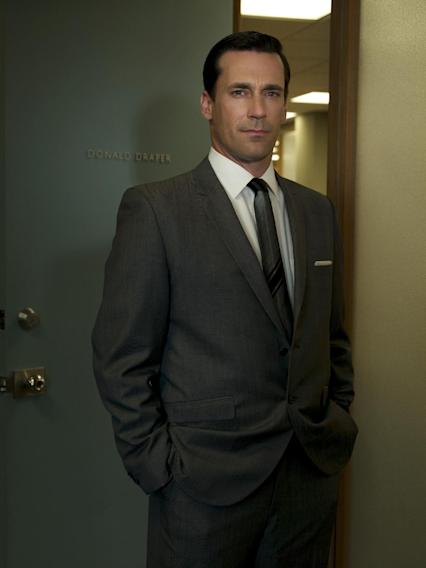"FILE - In this file image released by AMC, Jon Hamm stars as Don Draper in ""Mad Men."" Hamm was nominated for an Emmy award for outstanding lead actor in a drama series, Thursday, July 19, 2012, for his role in ""Mad Men."" The 64th annual Primetime Emmy Awards will be presented Sept. 23 at the Nokia Theatre in Los Angeles, hosted by Jimmy Kimmel and airing live on ABC.   (AP Photo/AMC, FILE)"