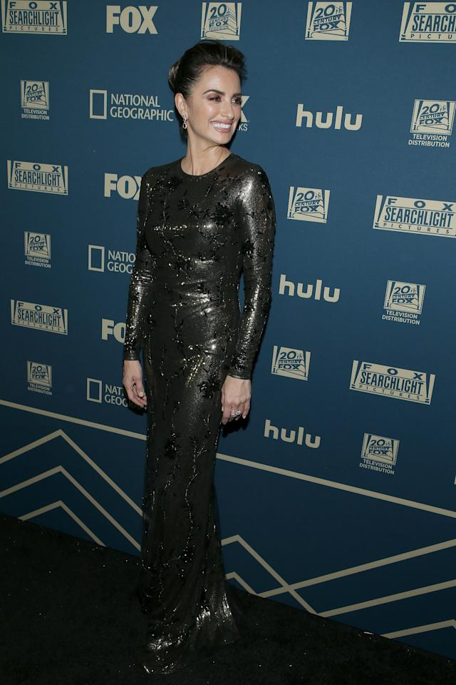 <p>Wearing a long-sleeved embellished gown. <em>[Photo: Getty]</em> </p>