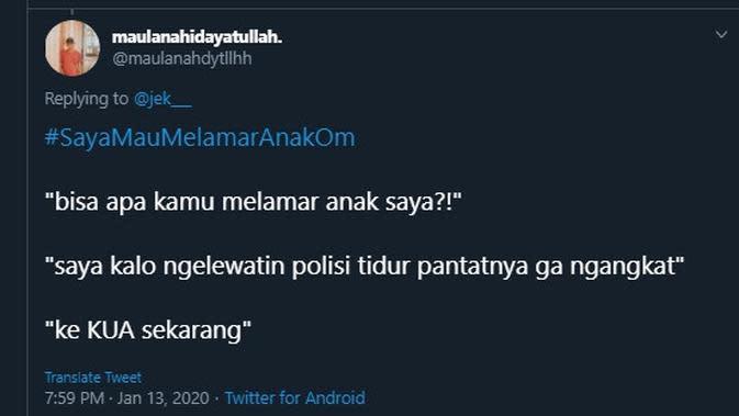 Modal nekat lamar anak orang (Sumber: Twitter/maulanahdytllhh)