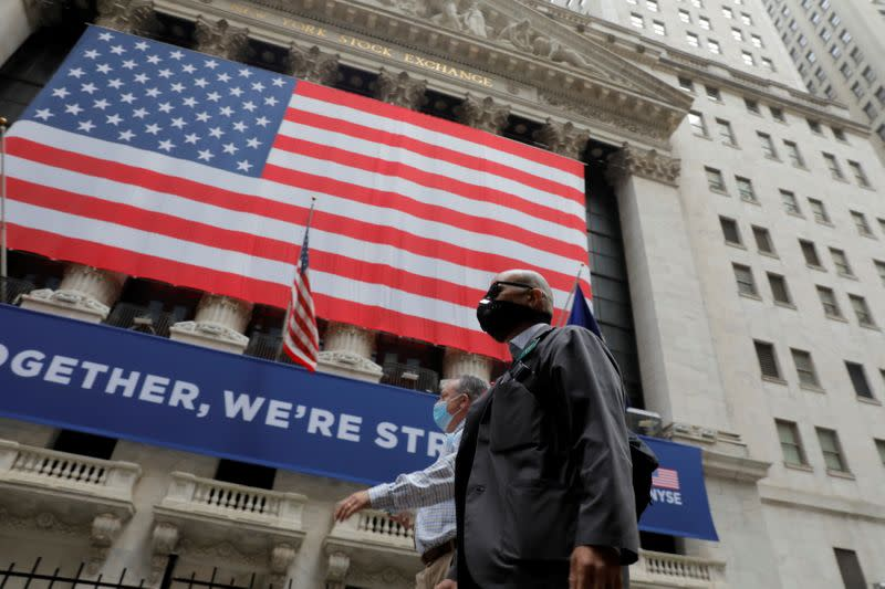 Wall Street ends choppy session higher as stimulus hopes ebb and flow