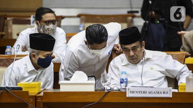 Menteri Agama Fachrul Razi saat Rapat Kerja dengan Komisi VIII DPR di Jakarta, Selasa (8/9/2020). Fachrul Razi menyatakan tidak tahu jika pernyataannya soal radikalisme masuk masjid melalui anak muda yang menguasai bahasa Arab dan good looking akan menjadi konsumsi publik. (Liputan6.com/Johan Tallo)