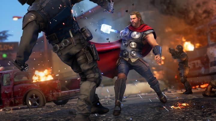 Thor fights on the Golden Gate Bridge in Marvel's Avengers