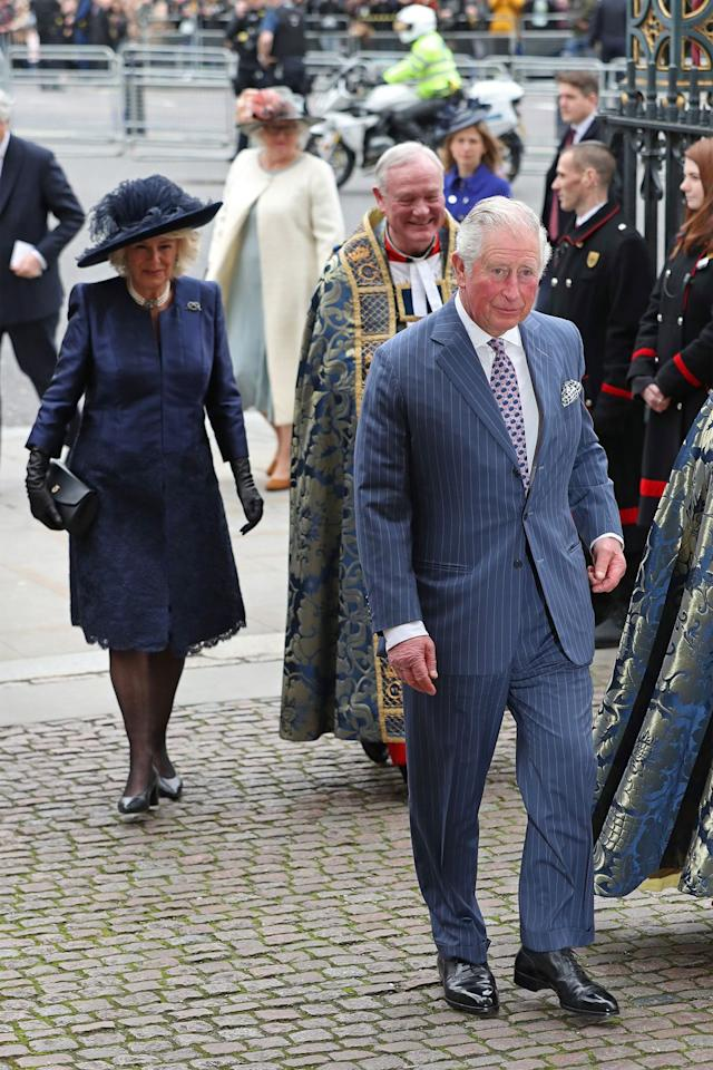 <p>Prince Charles and Camilla, Duchess of Cornwall, arrive at the Commonwealth Service at London's Westminster Abbey.</p>