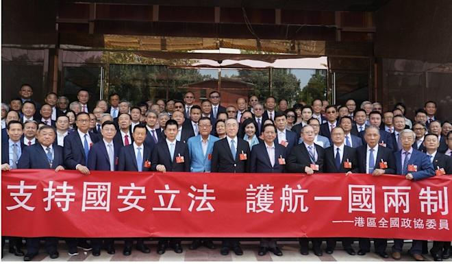 Members of the CPPCC delegation that met Han Zheng on Saturday. Photo: Handout
