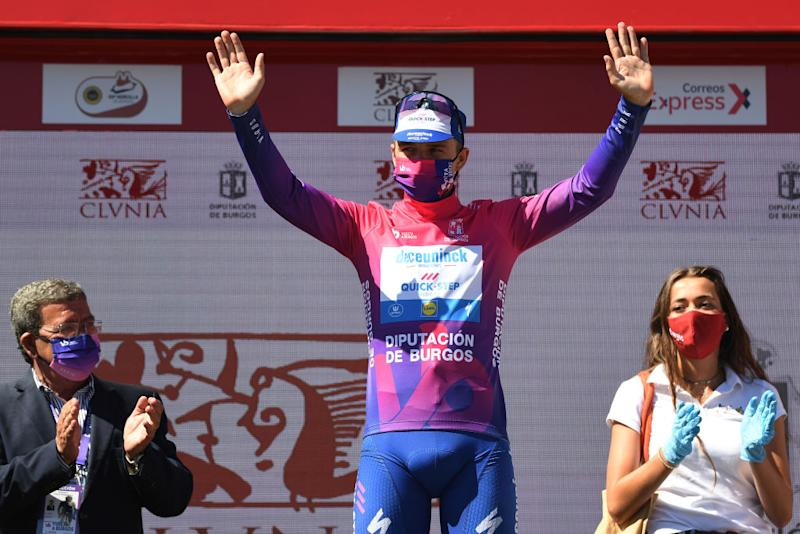 LAGUNAS DE NEILA SPAIN AUGUST 01 Podium Remco Evenepoel of Belgium and Team Deceuninck QuickStep Purple Leader Jersey Celebration during the 42nd Vuelta a Burgos 2020 Stage 5 a 158km stage from Covarrubias to Lagunas de Neila 1872m VueltaBurgos on August 01 2020 in Lagunas de Neila Spain Photo by David RamosGetty Images