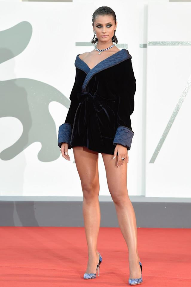 <p>Taylor Hill wears a custom mini frock by Etro with pumps by Gianvito Rossi for Etro. </p>