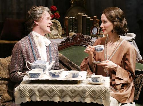 """This theater image released by Jim Randolph Media Relations shows Dale Carman, left, and Victoria Mack in Sidney Howard's """"The Silver Cord,"""" currently performing off-Broadway in a Peccadillo Theater Company production at Theatre at St. Clement's. (AP Photo/Jim Randolph Media Relations, Carol Rosegg)"""