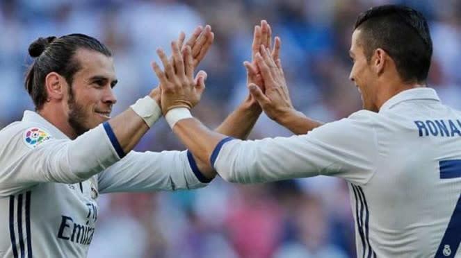 Pemain Real Madrid, Gareth Bale (kiri) dan Cristiano Ronaldo (kanan)