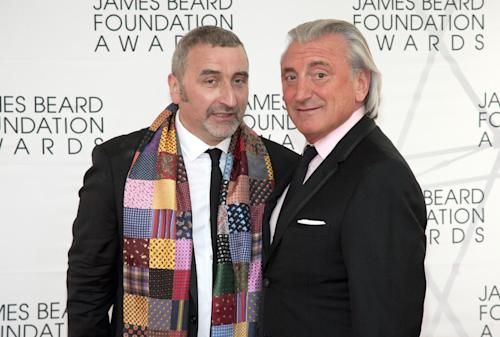 Restauranteurs Cesare Casella, left, and Julian Niccolini, arrive at the James Beard Foundation Awards Gala on Monday, May 6, 2013, in New York. (Photo by Andy Kropa/Invision/AP)