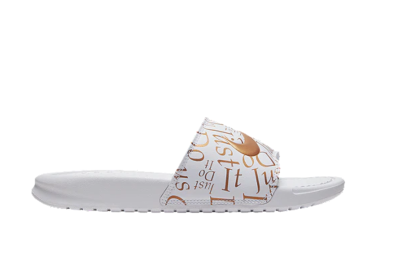 "Nike Women's Benassi ""Just Do It"" Print Slide Sandals. Image via Sport Chek."