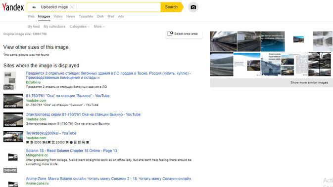 Hasil penelusuran Yandex.