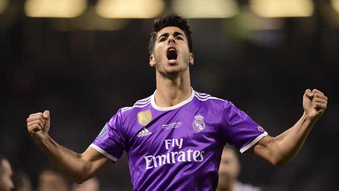 2. Marco Asensio (Real Madrid) – Mampu bermain apik di laga penting membuatnya menjadi pilihan utama Zidane. Pria berusia 21 tahun itu diharapkan bisa meneruskan status Real Madrid sebagai peraih trofi terbanyak Liga Champions. (AFP/Javier Soriano)