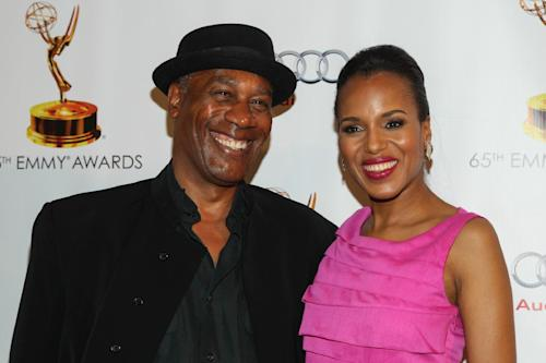 From left, actors Joe Morton and Kerry Washington arrive at the 65th Emmy Awards Nomination Celebration at the Academy of Television Arts and Sciences on Tuesday, Sept. 17, 2013 in North Hollywood, California. (Photo by Paul A. Hebert/Invision/AP)