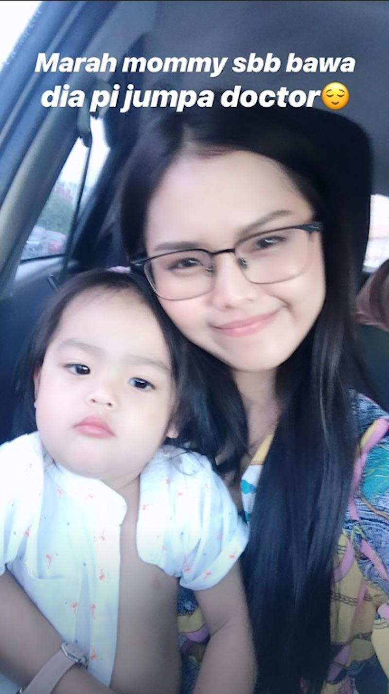 Bella Astillah poses with her son, Mohamad Ayden Adrean, after their trip to the doctor. — Picture via Instagram/@bellaastillah.