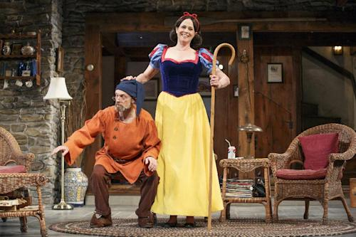 "This theater publicity image released by The O + M Company shows David Hyde Pierce, left, and Sigourney Weaver in ""Vanya and Sonia and Masha and Spike"". Weaver plays Masha in the brilliant ""Vanya and Sonia and Masha and Spike"" on Broadway, a play likely to score at least a few Tony Award nominations next week. (AP Photo/The O + M Company, Carol Rosegg)"