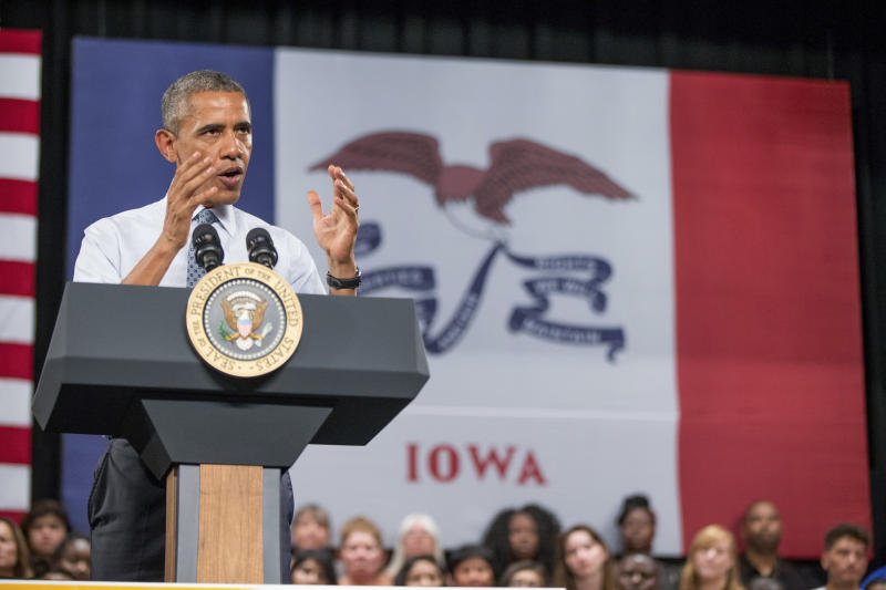 File - In this Sept. 14, 2015, file photo, President Barack Obama, speaks at a town hall with high school juniors, seniors and their parents at North High School in Des Moines. Few states have changed politically with the head-snapping speed of Iowa. (AP Photo/Andrew Harnik, File)