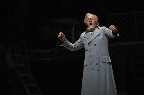 """In this Wednesday, May 2, 2012 photo, John Daszak performs as Capt. Vere during the final dress rehearsal of Benjamin Britten's """"Billy Budd"""" at the Metropolitan Opera in New York. (AP Photo/Mary Altaffer)"""