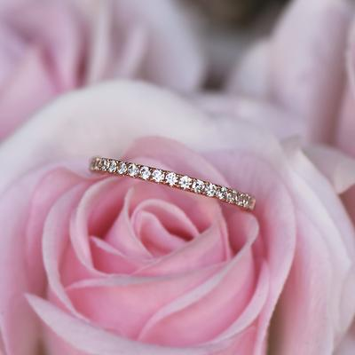 Thin Pearl Ring Dainty Stackable Half Eternity Ring Sterling SilverRose Gold Ring Stacking Ring