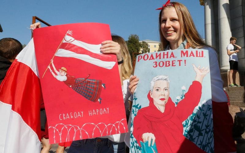 Maria Kolesnikova has inspired fan art among Belarusian protesters - Efrem Lukatsky/AP