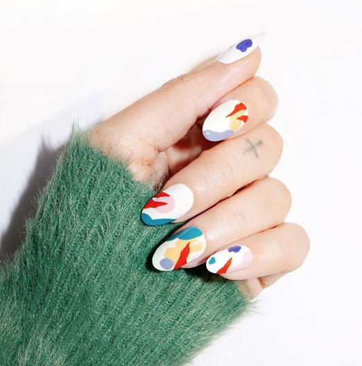 """<p>Nail artist Alicia Torello was inspired by mid-century prints for this abstract look. You can head to her<a href=""""https://www.instagram.com/p/B7FL53KBskp/"""" target=""""_blank""""> IGTV</a> now to see how to recreate the art at home. <em><br></em></p><p><em>Design by <a href=""""https://www.instagram.com/p/B7E_ZwrB5Ot/"""" target=""""_blank"""">@aliciatnails</a></em></p>"""